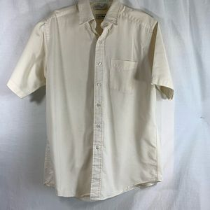 L.L. Bean Yellow Striped Short Sleeve Shirt